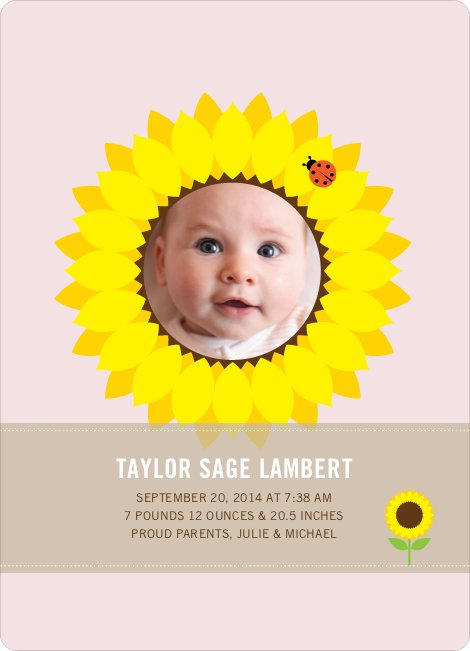 Sunflower Themed Birth Announcements - Blush