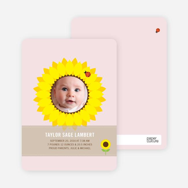 Sunflower Themed Birth Announcements - Blush