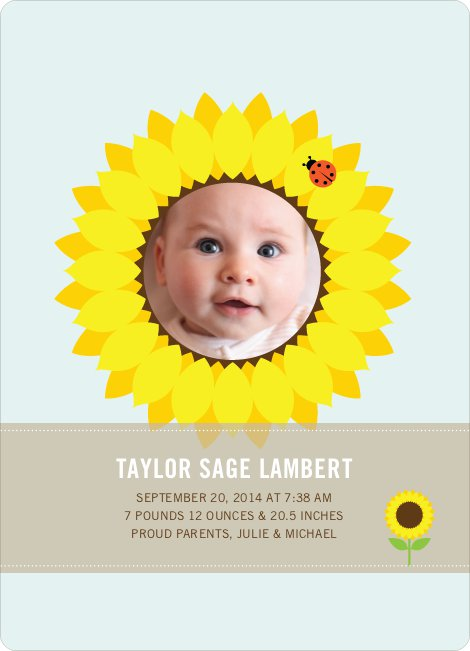 Sunflower Themed Birth Announcements - Glacier