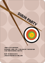 Sushi Themed Party Invitations - Dusty Rose