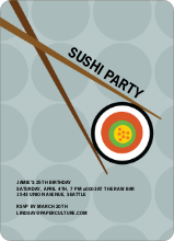 Sushi Themed Party Invitations - Teal