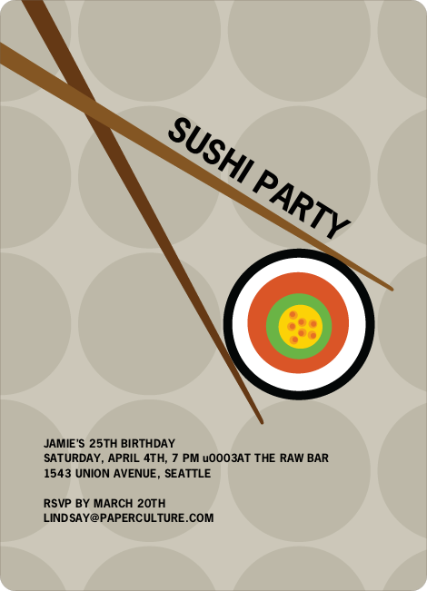 Sushi Themed Party Invitations - Sand