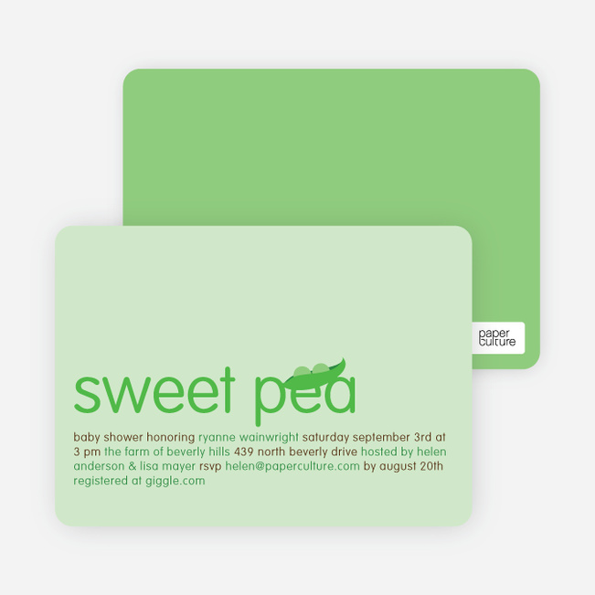 Sweet Pea Baby Shower Invitations - Light Lime
