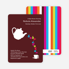 Teapot Alphabet Baby Shower Invitations - Dark Chocolate