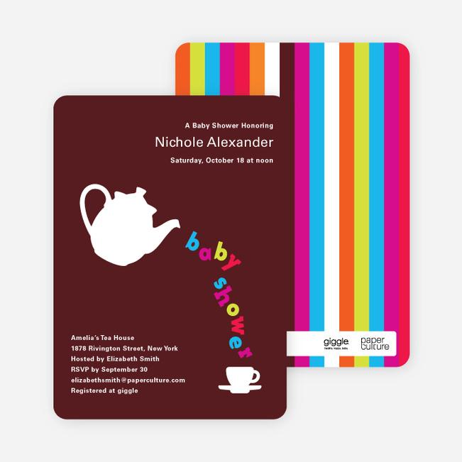 Teapot Alphabet Baby Shower Invitations - Dark Chocolate