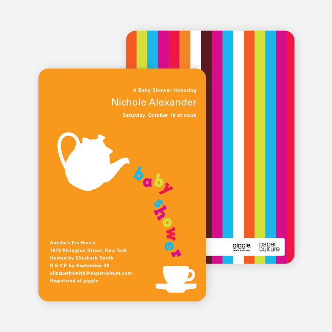 Teapot Alphabet Baby Shower Invitations - Pumpkin