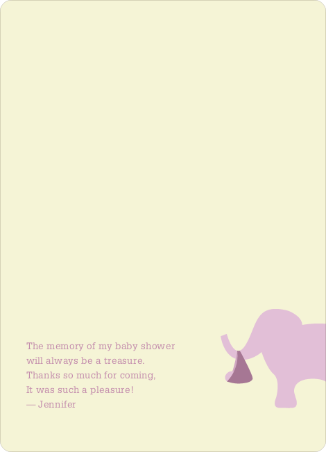 Thank You Card for The Time is Now Baby Shower Invitation - Lavender