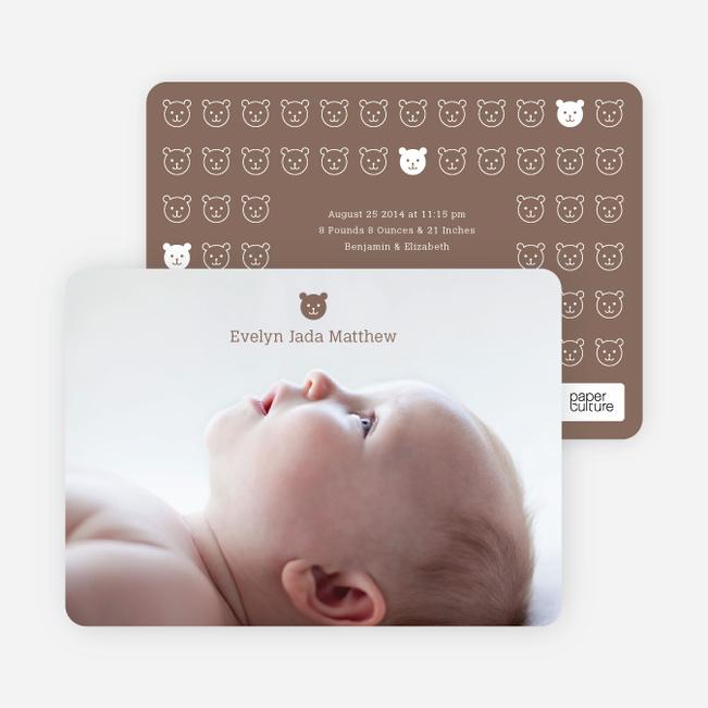 Tiny Teddy Bear Photo Birth Announcement Prints - Cocoa