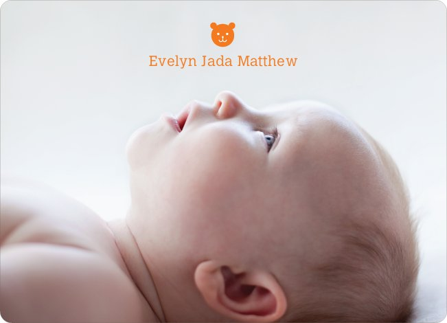 Tiny Teddy Bear Photo Birth Announcement Prints - Orange