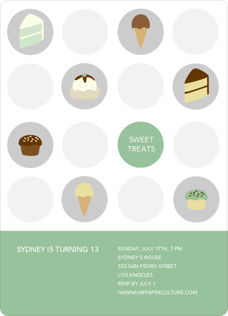 Tooth Decay Party Invitations: Ice Cream, Cupcakes and Cake - Basil