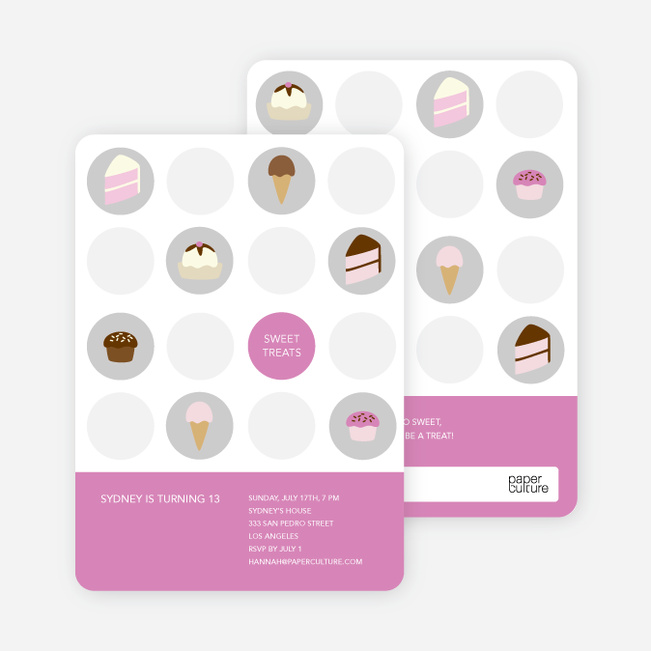 Tooth Decay Party Invitations: Ice Cream, Cupcakes and Cake - Violet