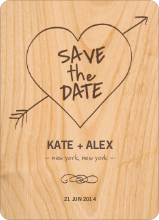 Tree Carving Save the Date Cards - Plywood