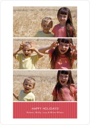 Triple the Fun – 3 Photo Holiday Cards - Cherry