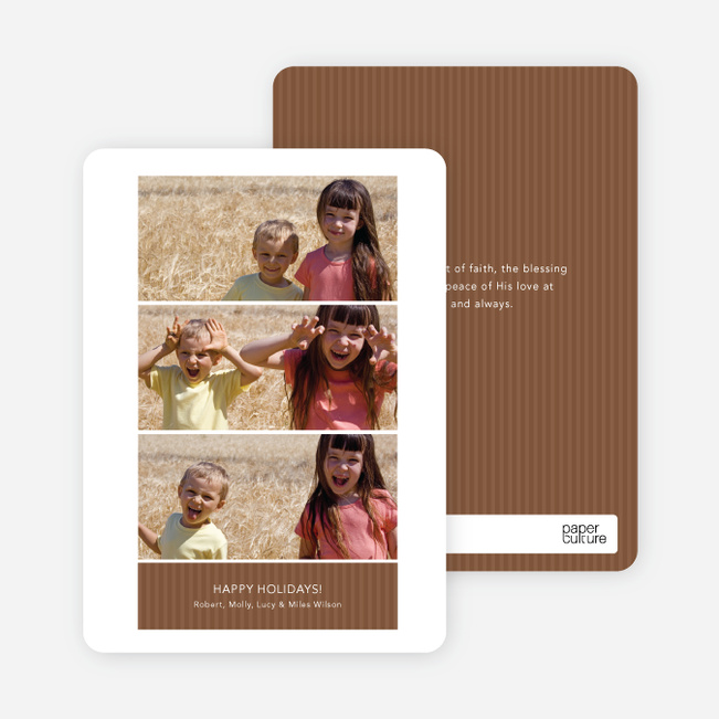 Triple the Fun – 3 Photo Holiday Cards - Chocolate