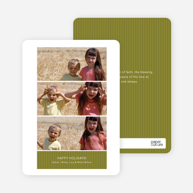 Triple the Fun – 3 Photo Holiday Cards - Olive