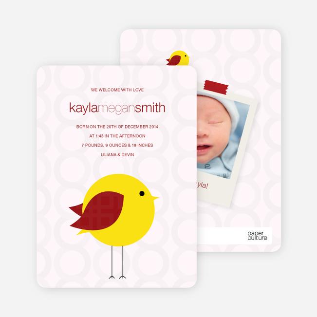 Tweetie Birth Modern Baby Announcement - Light Pink