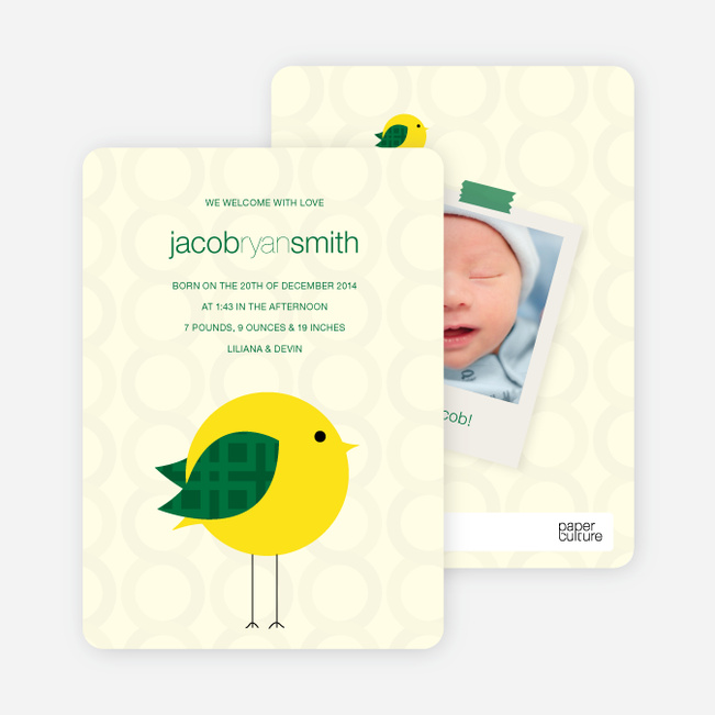 Tweetie Birth Modern Baby Announcement - Light Yellow