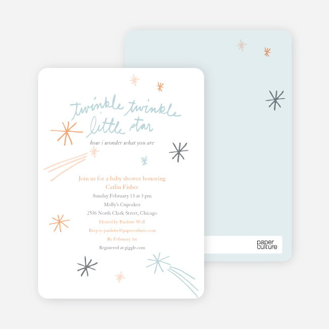 Twinkle, Little Star Baby Shower Invitations - Orange Cream