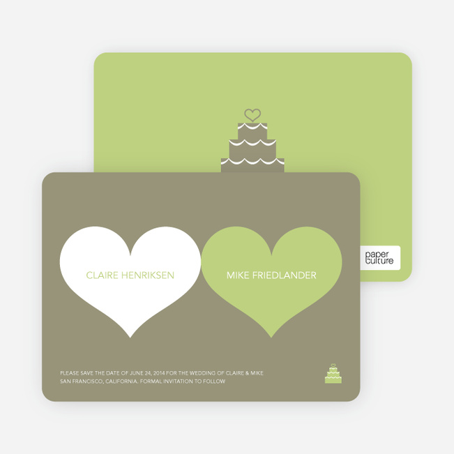 Two Hearts Save the Date Cards - Bamboo