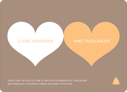 Two Hearts Save the Date Cards - Orange Sherbet
