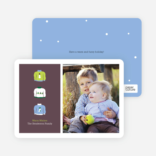 Ugly Sweaters Holiday Photo Cards - Neon Green