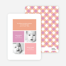 Ultra Modern Four Square Twin Birth Announcements - Amethyst