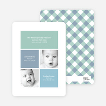 Ultra Modern Four Square Twin Birth Announcements - Dusty Blue