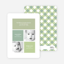 Ultra Modern Four Square Twin Birth Announcements - Sage