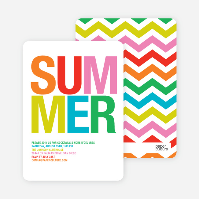 Ultra Modern Summer Party Invitations - Scarlet