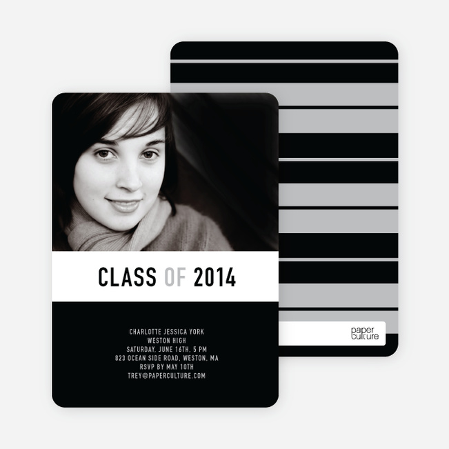 Unique Modern Graduation Announcements and Invitations - Charcoal