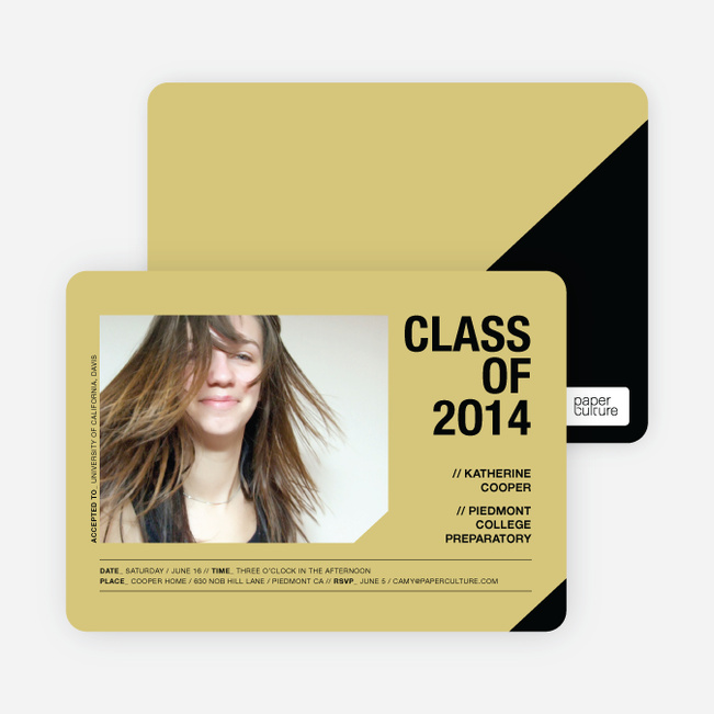 Unique Photo Graduation Announcements - Mustard