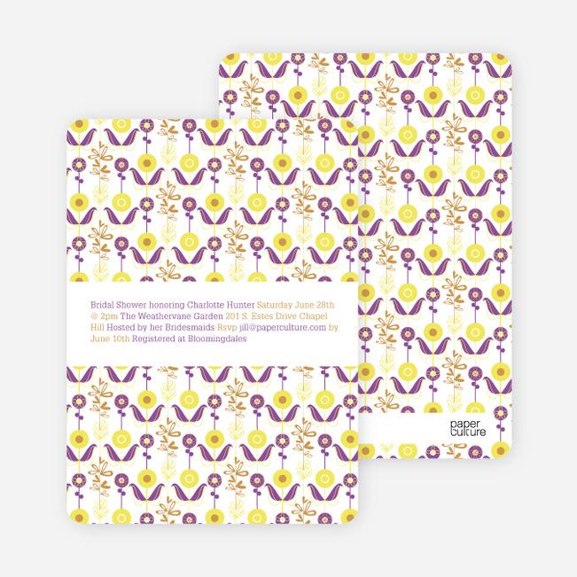Wallpaper Blooms Bridal Shower Invitations - Lemon Drop