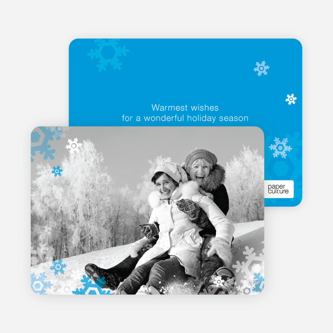 Warm Holiday Wishes Photo Card - Royal Blue