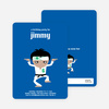 Wax on Wax Off Karate Birthday Invitations - Blue Ninja