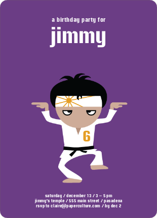Wax on Wax Off Karate Birthday Invitations - Purple Punch