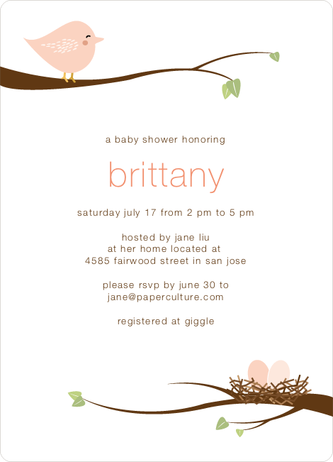 Whimsical Nesting Birds Baby Shower Invitations - Pink Robin
