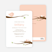 Whimsical Nesting Birds Baby Shower Invitations - Pink Robin