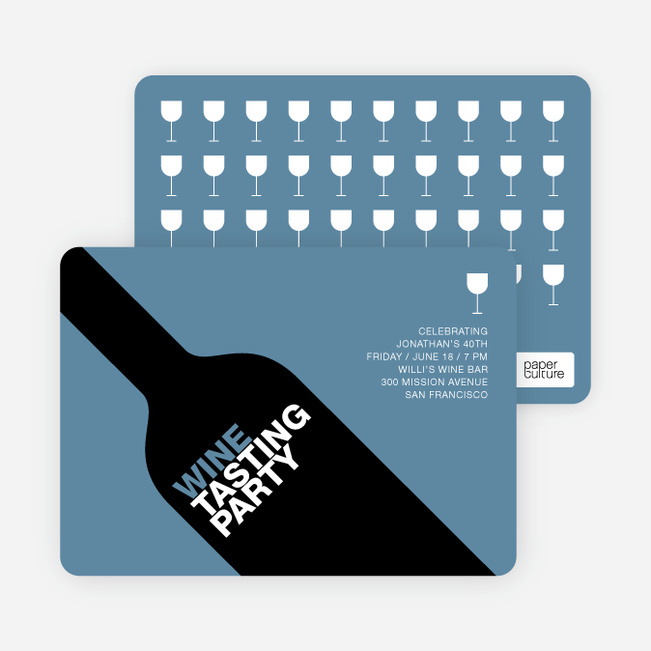 Wine Party Invitation - Pale Blue