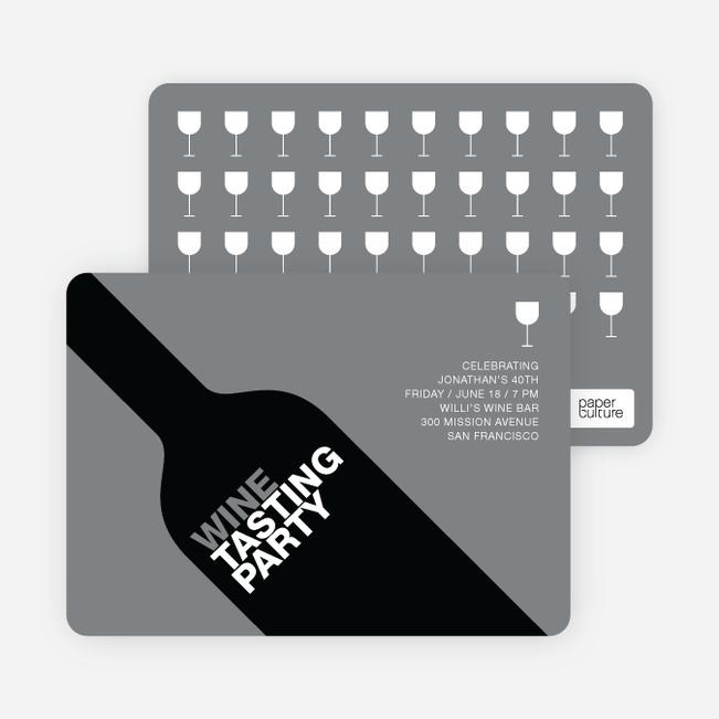 Wine Party Invitation - Grey