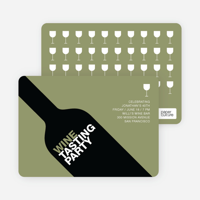 Wine Party Invitation - Taupe