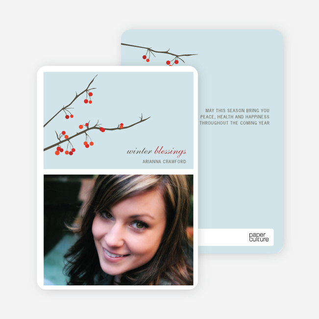 Modern Holiday Cards: Winter Berries - Glacier