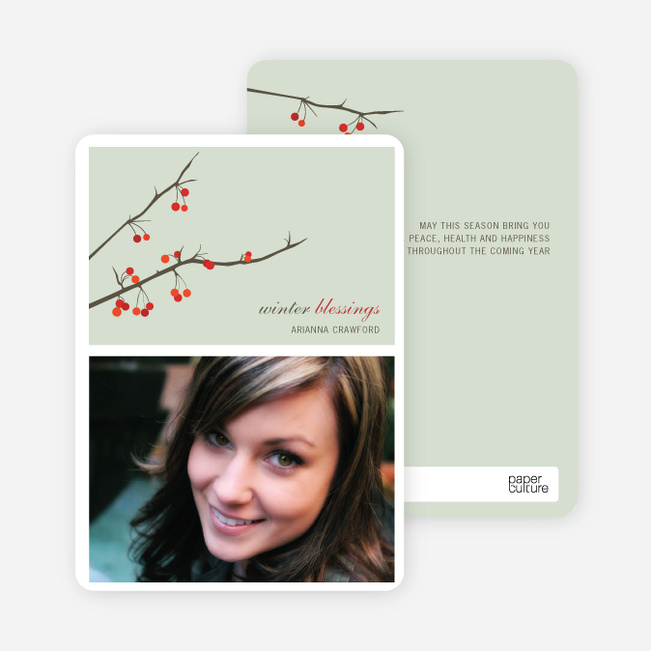 Winter Berries Holiday Photo Cards - Pale Sage