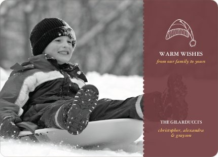 Winter Sledding Holiday Photo Card - Sangria
