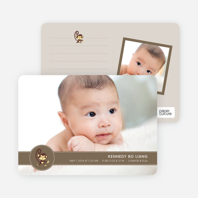 Year of the Monkey Photo Birth Announcements - Curious Brown