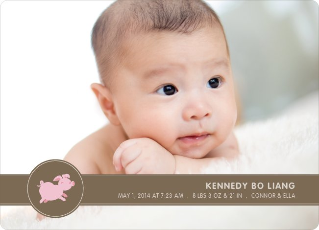 Year of the Pig Photo Birth Announcements - Pinky Toe
