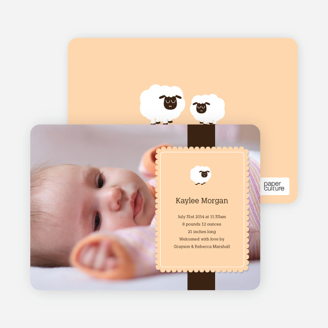 Your Little Lamb Photo Birth Announcements - Apricot