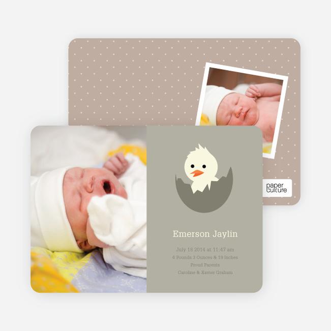 Your Newborn Has Hatched: Modern Baby Announcement - Dark Khaki