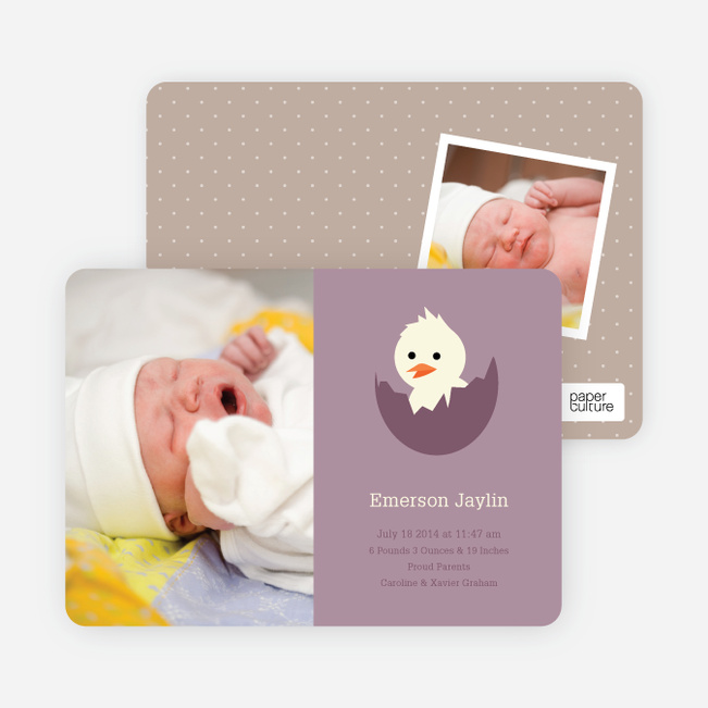 Your Newborn Has Hatched: Modern Baby Announcement - Plum
