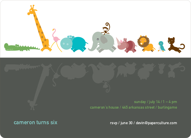 Zoo Parade Modern Birthday Invitation - Slate Grey