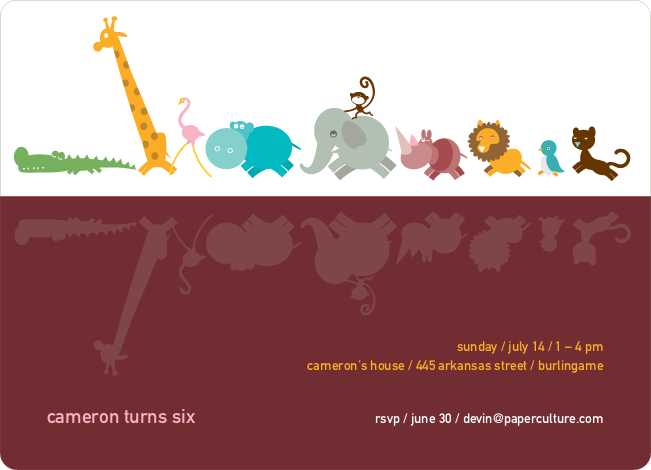 Zoo Parade Modern Birthday Invitation - Sangria